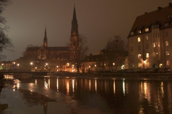 The church of uppsala by night