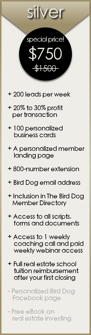 Silver Membership - The Bird Dog Real Estate Investment and Short Sale Program with The Short Sale Gal Kristine Zelazo