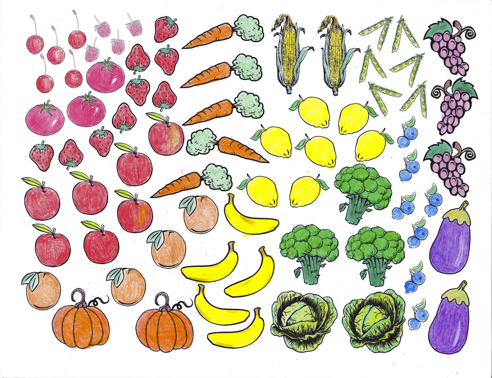Fruits And Vegetables Coloring Sheet