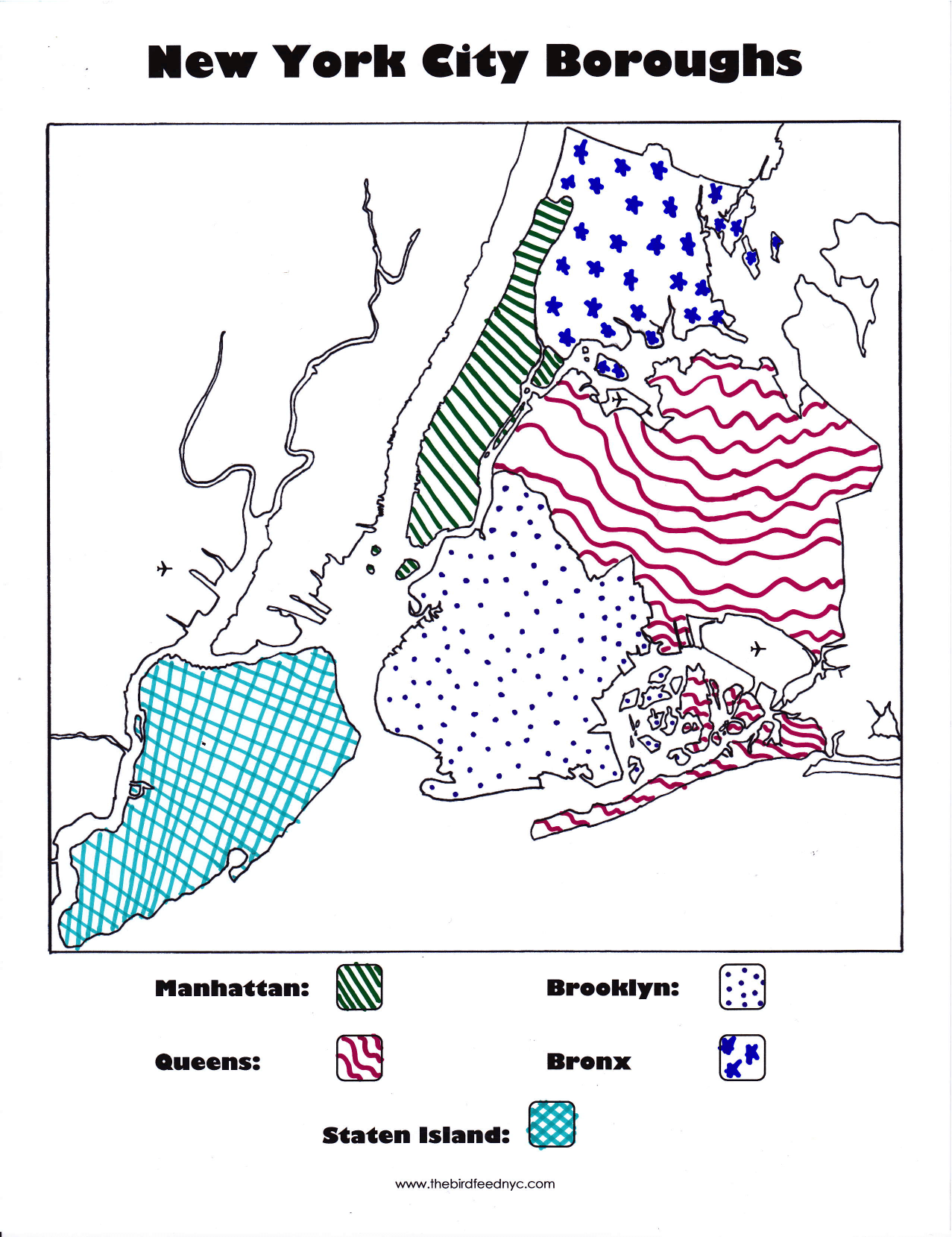 New York City Boroughs Coloring Activity For Kids