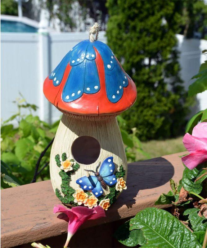 Bo-Toys Hand-Painted Mushroom Birdhouse