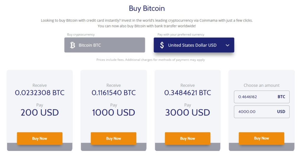 Buy Bitcoin with Coinmama