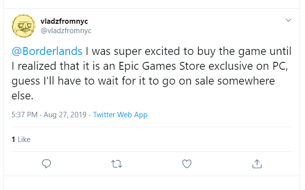 Epic Games Store Tweet