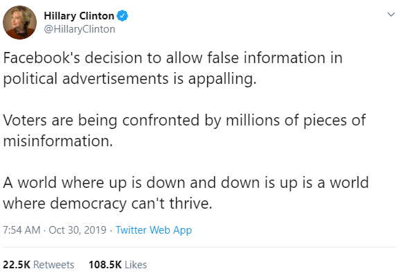 hillary clinton condemns facebook political advertisement policy