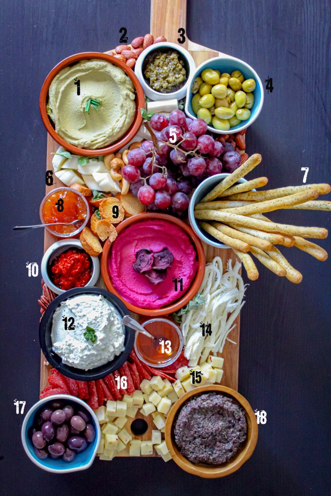 mezze platter with numbers
