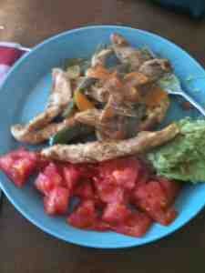 Paleo Lunch of Chicken Fajitas