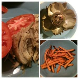 shredded chicken, artichoke & sweet potato fries