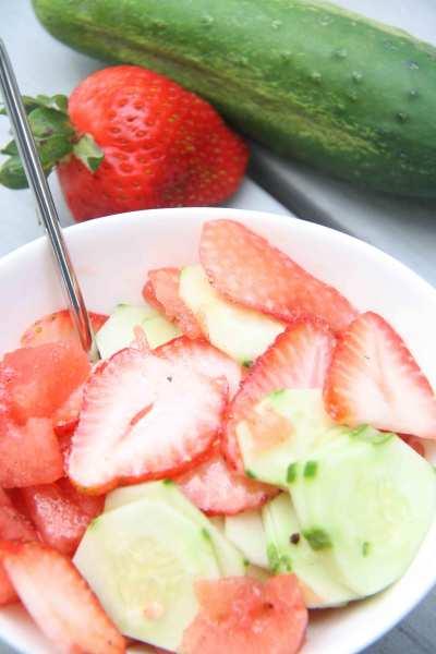 strawberry cucumber watermelon salad
