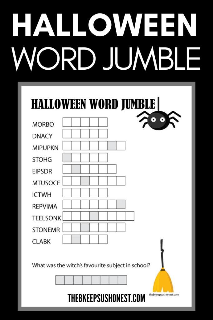 Halloween Word Jumble – The B Keeps Us Honest
