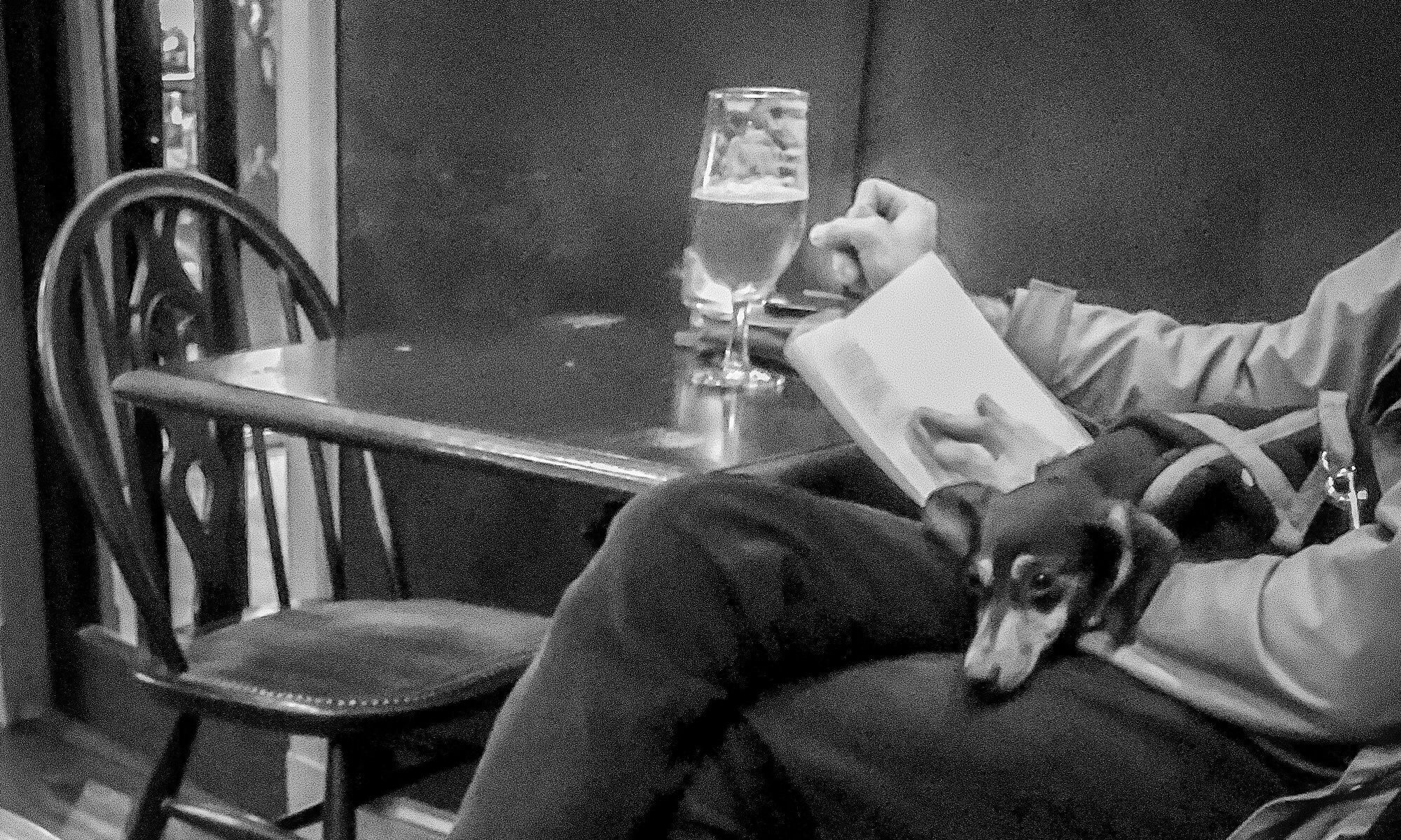 Photo of a person reading a book and drinking a pint with a small dog on their lap