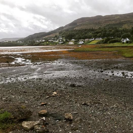 Photo of Portree at low tide with white houses about the loch below mountains