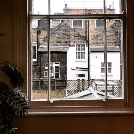 Photo of the back of brick buildings as seen through a window