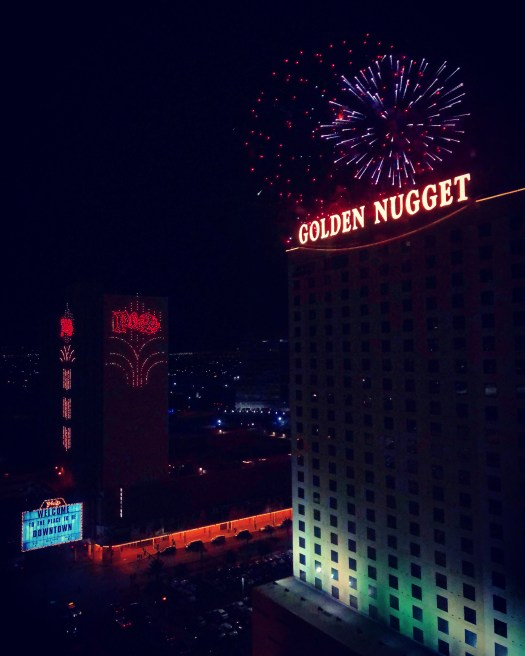 Photo of fireworks over the Golden Nugget Hotel