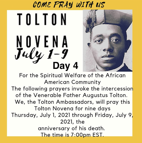 Tolton Novena for the Spiritual Welfare of the Black American Community (July 1-July 9) [124th Anniversary of Tolton's Death] – Day 4: FOR PEACE IN THE BLACK COMMUNITY