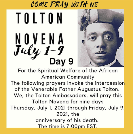 Tolton Novena for the Spiritual Welfare of the Black American Community (July 1-July 9) [124th Anniversary of Tolton's Death] – Day 9: FOR MORE VOCATIONS TO THE PRIESTHOOD, DIACONATE, AND CONSECRATED LIFE FROM THE BLACK COMMUNITY