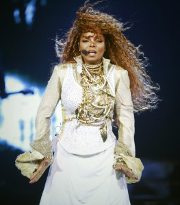 VANCOUVER, CANADA - AUGUST 31, 2015: Janet Jackson performs at Rogers Arena in Vancouver, British Columbia, Canada August 31, 2015. (Photo by Jeff Vinnick/CSE)