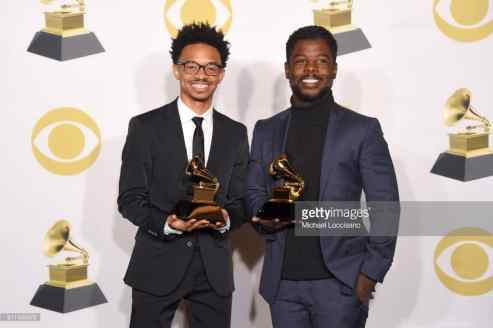 poses in the press room during the 60th Annual GRAMMY Awards at Madison Square Garden on January 28, 2018 in New York City.