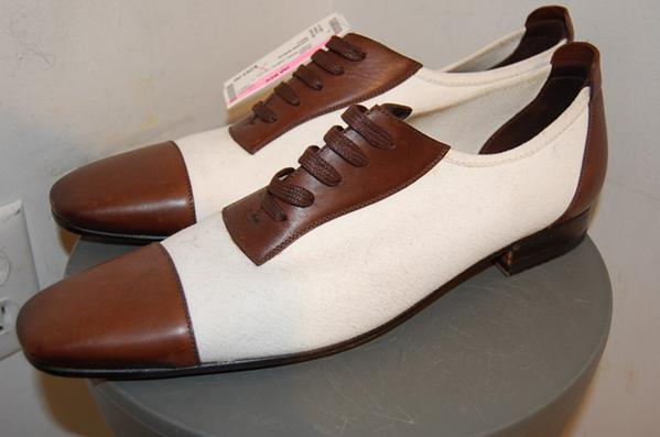 Gucci Cream Canvas & Brown Leather Cap Toe Shoes $285