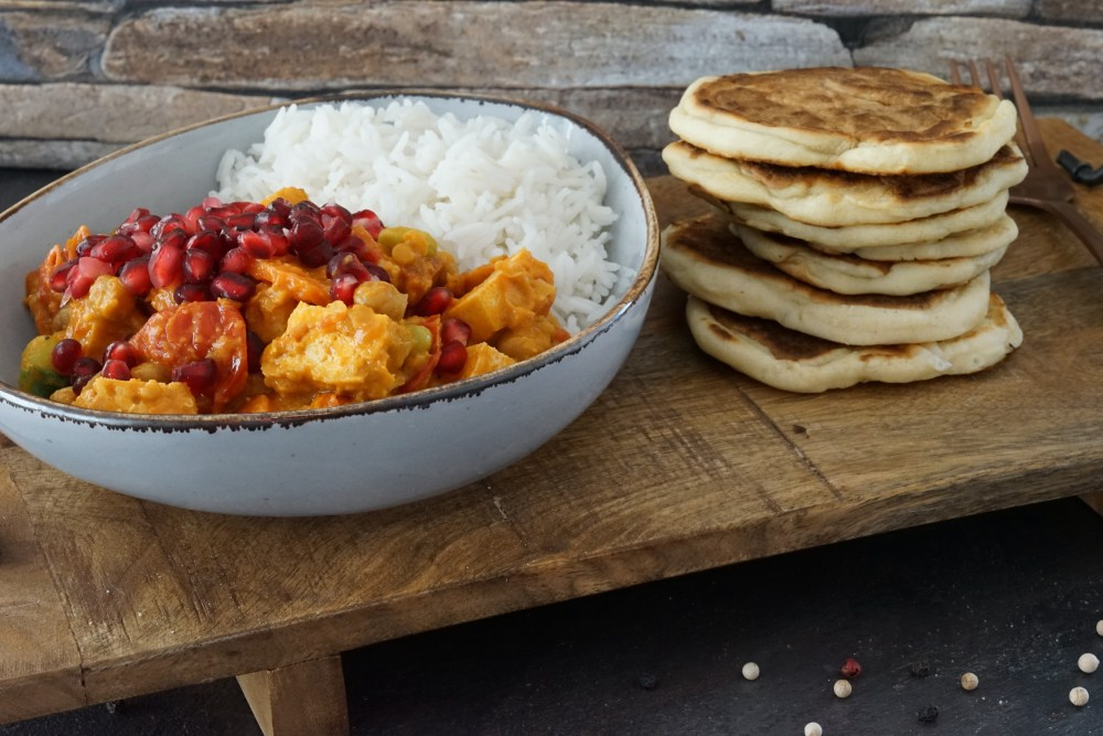 Veggie Curry mit Roti Brot
