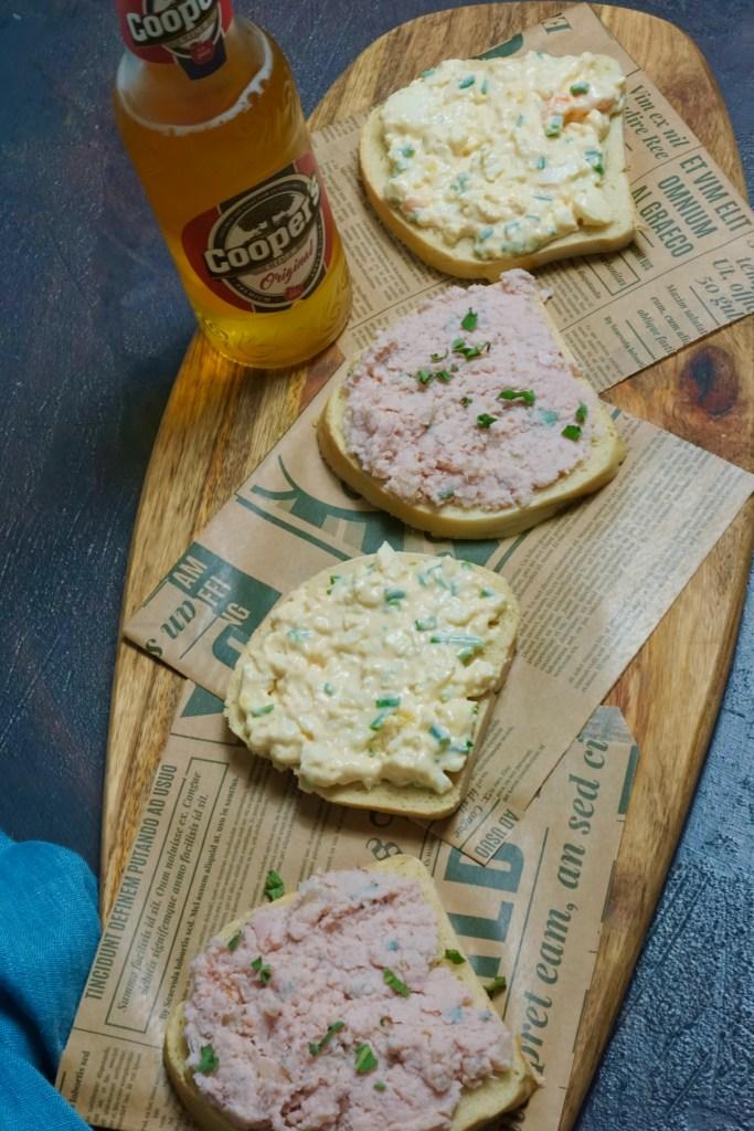 Sandwiches mit Schinkencreme und Eiersalat