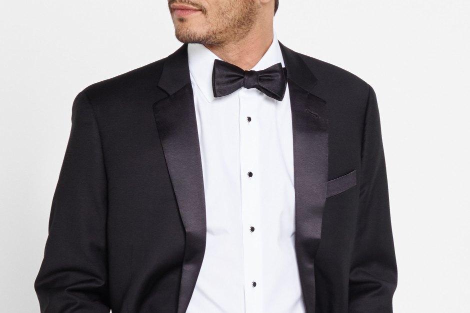 Notch lapel tuxedo.