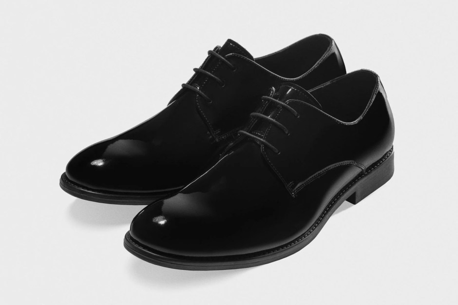 Patent leather tuxedo shoes.