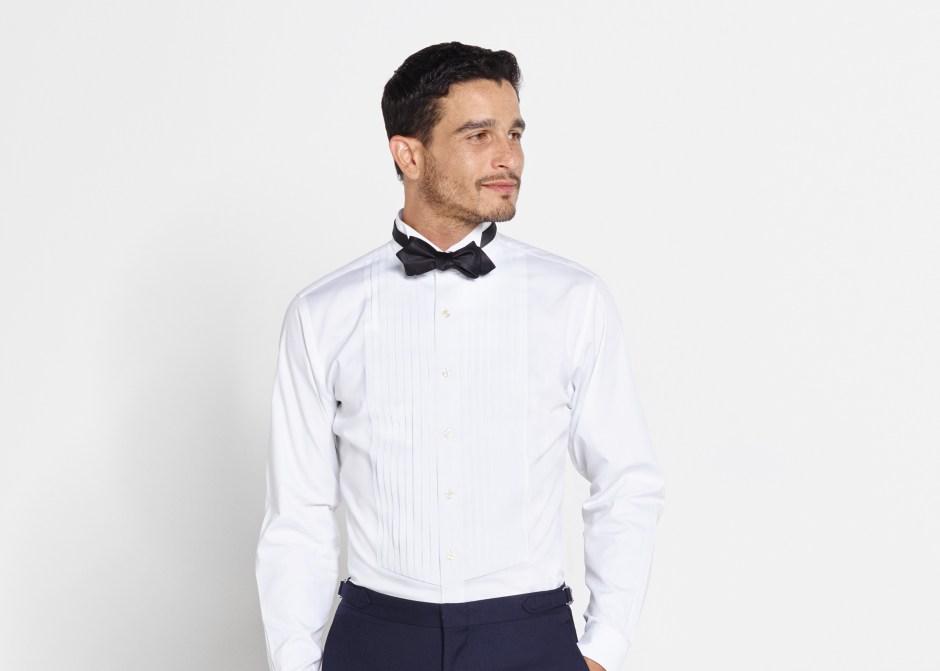 Pleated tuxedo shirt bib