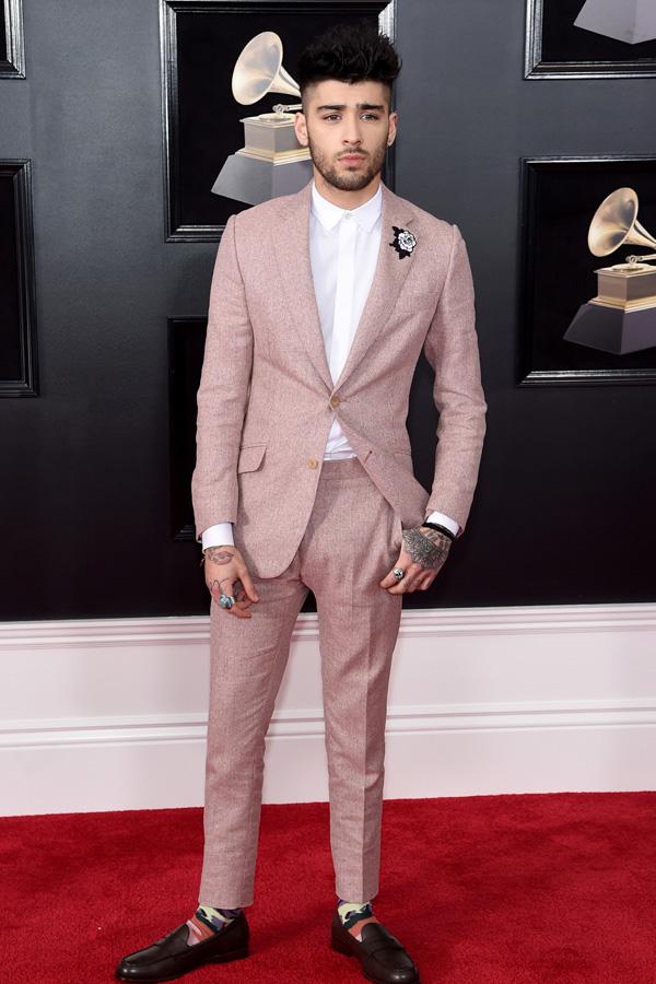 Zayn Malik in a rose prom tuxedo.