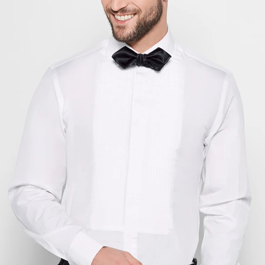 Slim bibbed tuxedo shirt by The Black Tux.