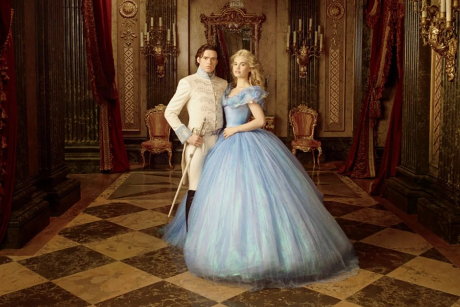 Cinderella in classical setting with her prince.