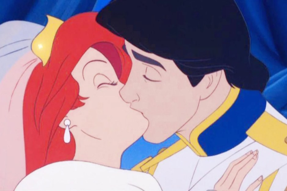 Disney's The Little Mermaid wedding scene kiss.