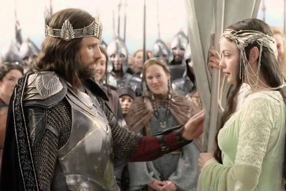 Aragorn finds Arwen behind banner in The Lord of the Rings Return of the King.