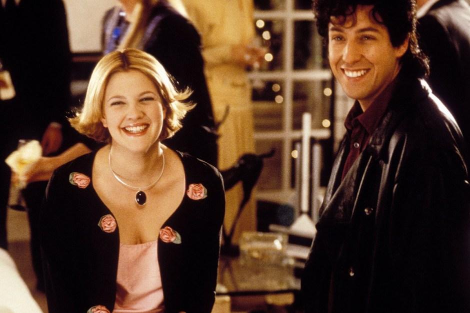 Adam Sandler and Drew Barrymore in The Wedding Singer.