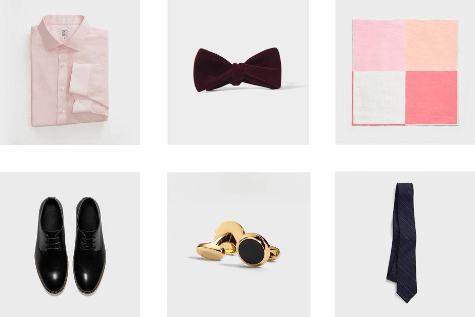 Accessories options for black suits.