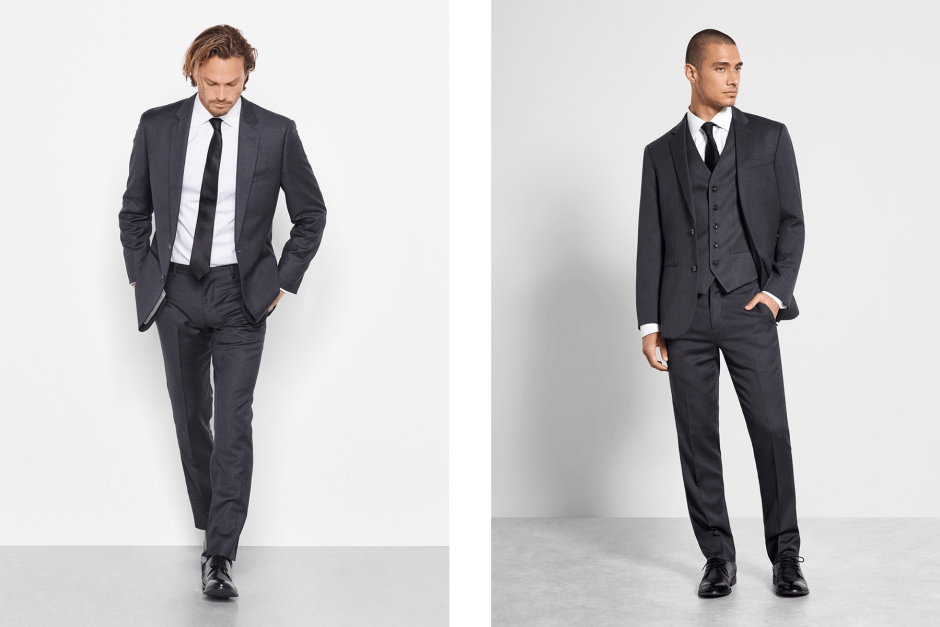 Charcoal wedding suits by The Black Tux.