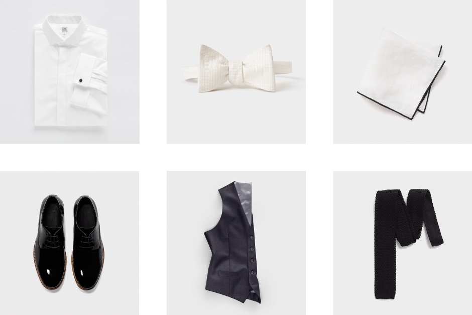 Accessories for a charcoal men's suit.