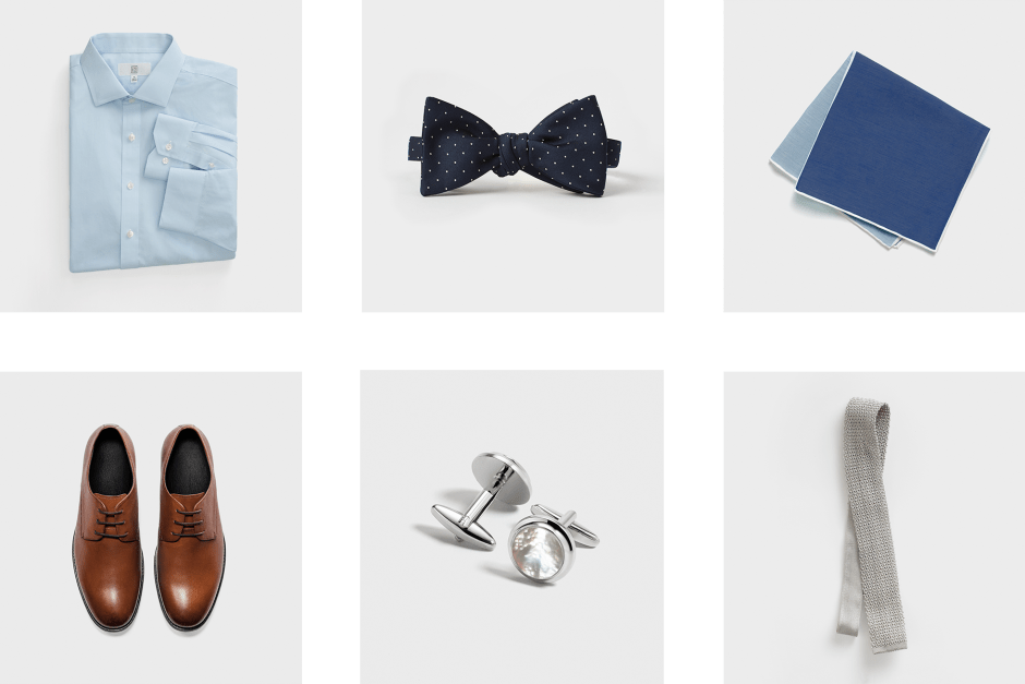 Accessories for a grey wedding suit by The Black Tux.