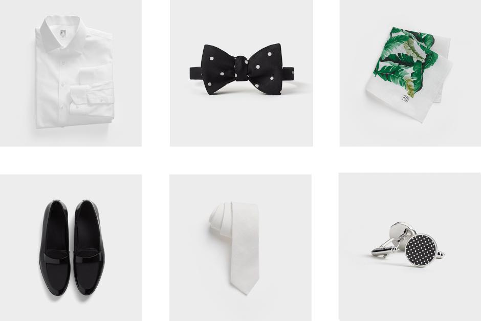 Tan wedding suit accessories.