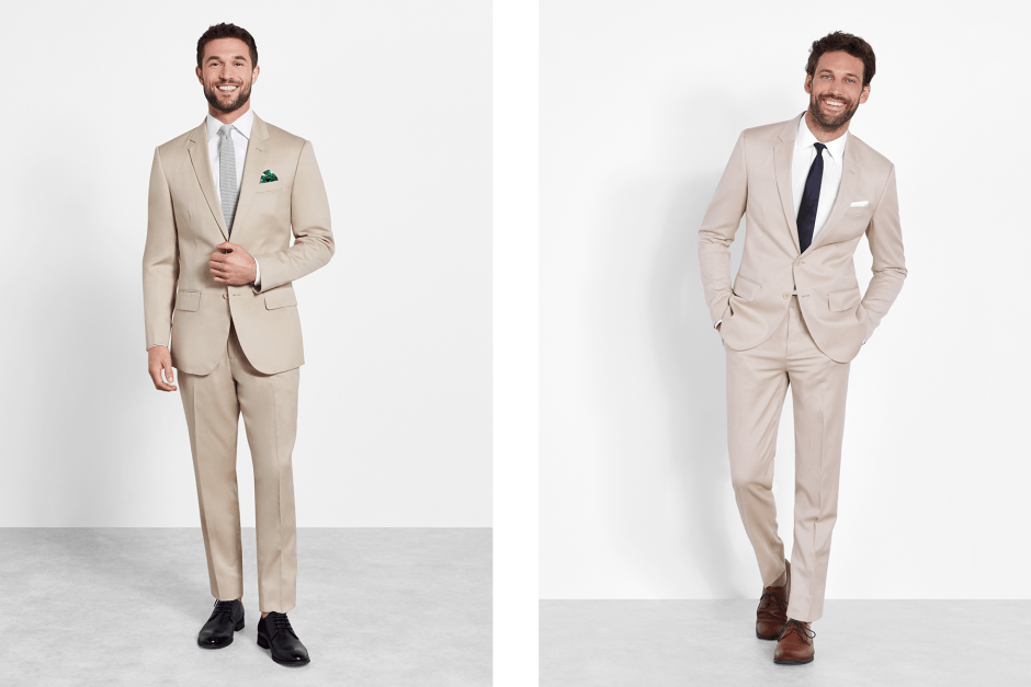 Two ways to wear a tan suit by The Black Tux.