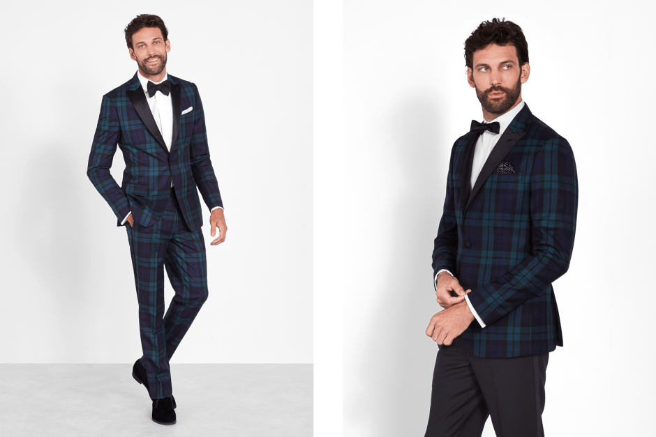 Black watch tartan tuxedo and dinner jacket tux.