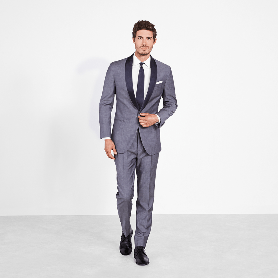 Chambray tuxedo, the perfect summer groomsmen tuxedo idea.