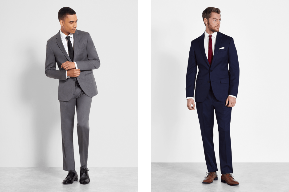 Grey suit and Blue suit rentals for groomsmen.
