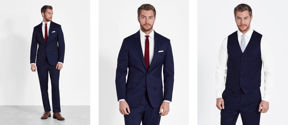 Blue groomsmen suit.