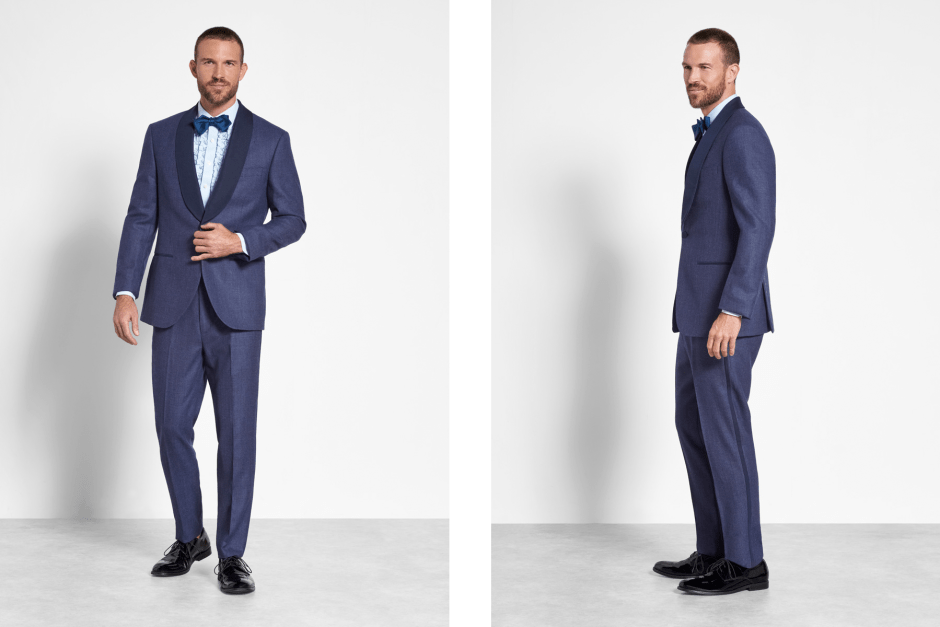 Two looks of the blue shawl tuxedo by The Black Tux.