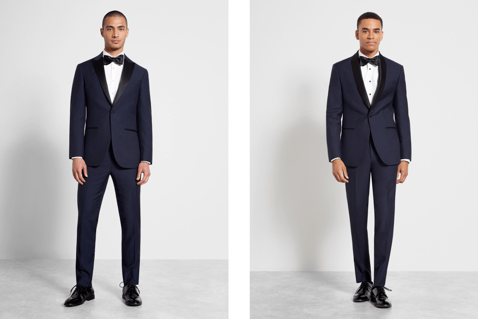 Two men in midnight blue groom tuxedos.