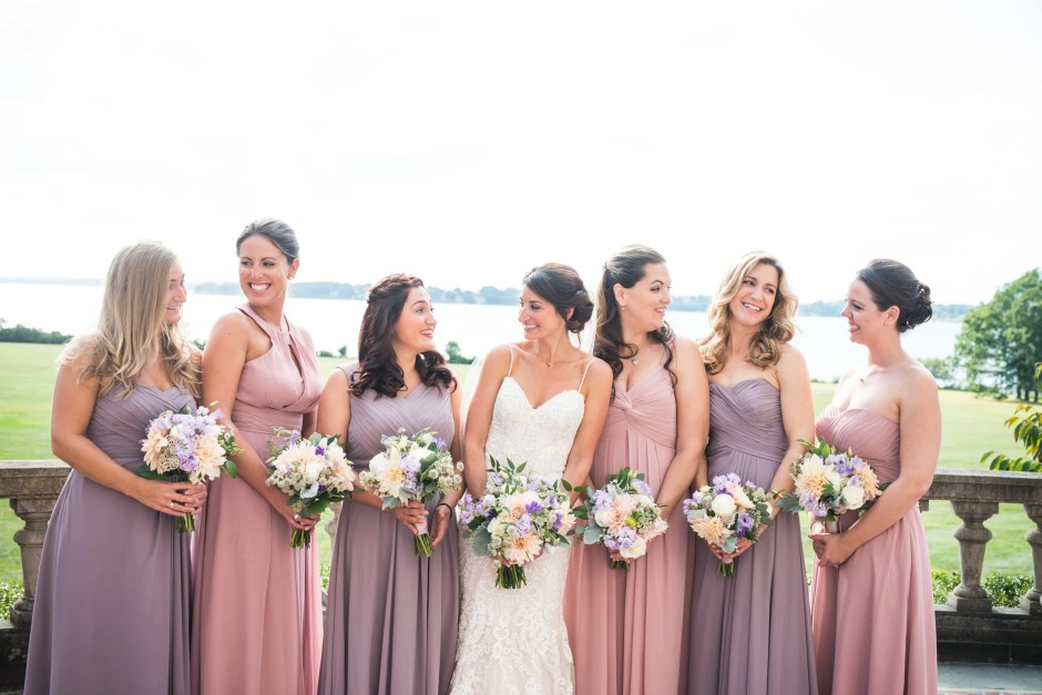 aebb45c4179 Bridesmaids  Dresses by Azazie in Dusk and Dusty Rose colors.