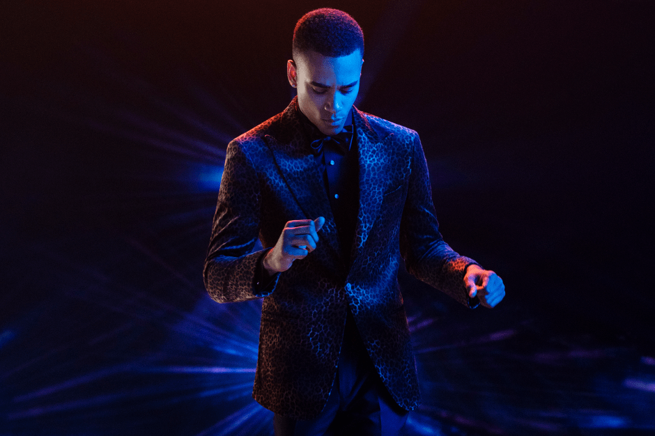 Man in Leopard Velvet Jacket from The Black Tux 2018 Holiday Collection.