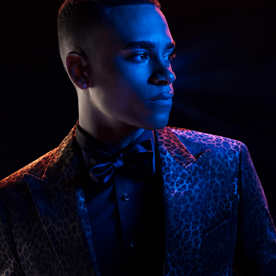 Leopard velvet tuxedo from The Black Tux 2018 Holiday Collection.