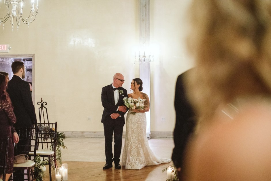 Bride in dress Father of the Bride attire tuxedo