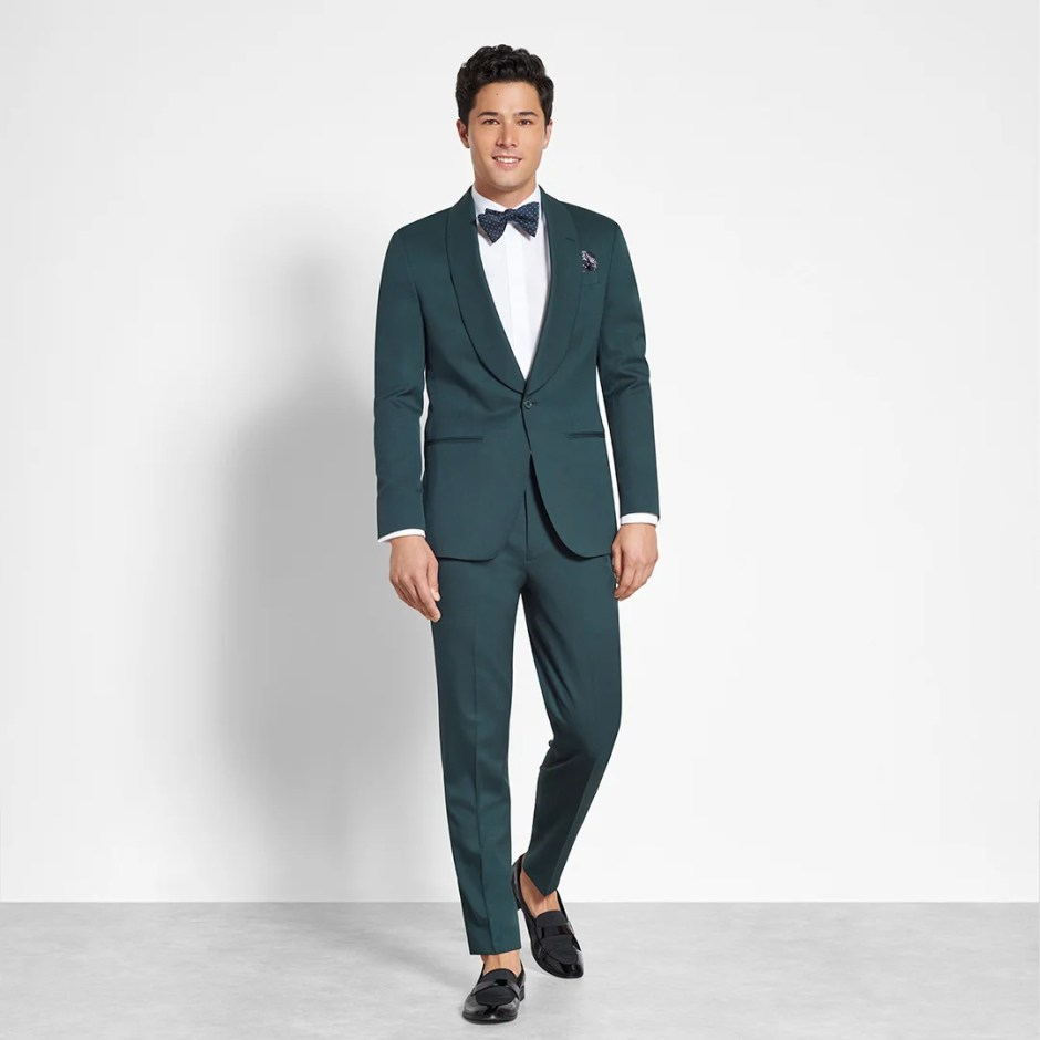 green suit semi-formal wedding attire for grooms